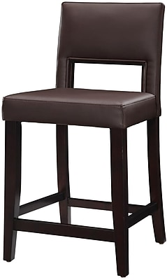 Linon Vega PVC Counter Stool, Dark Brown