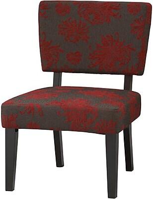 Linon Taylor Fabric Side Chair, Red/Gray (36080RGB-01-KDU)