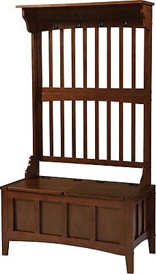 Linon Mission Hall Tree Pine/MDF Storage Bench, Walnut