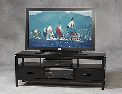 Linon Sutton Rubberwood Plasma TV Center; Black