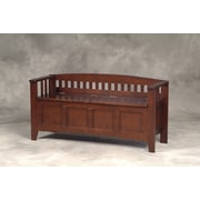 Linon Rubberwood Veneers Short-Split Seat Storage Bench; Walnut
