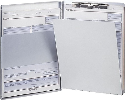 OIC Aluminum Side Loading Form Holder w/Storage, Legal, Silver, 8 1/2