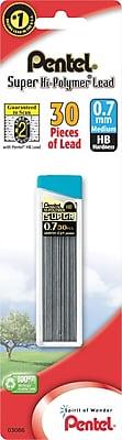 Pentel Super Hi-Polymer® Lead Refills, Medium Point 0.7mm, HB Hardness Lead, 30/Pk