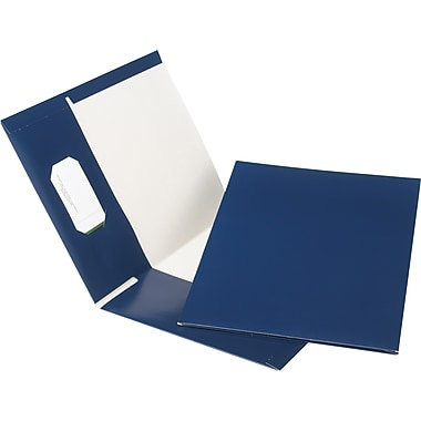 Oxford® Earthwise® 100% Recycled Hi-Gloss Twin-Pocket Folders, Navy, 5/Pack