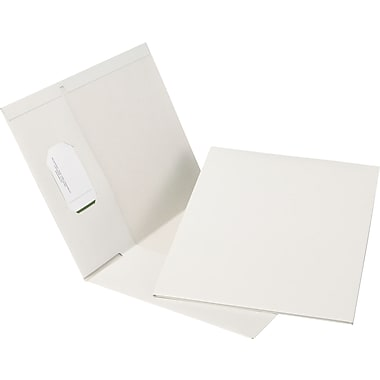 Oxford® Earthwise® 100% Recycled Hi-Gloss Twin-Pocket Folders, White, 5/Pack