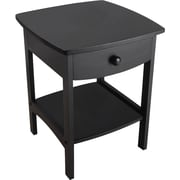 "Winsome 22""H x 18""W x 18""D Wood Curved End Table/Night Stand With One Drawer, Black (20218)"