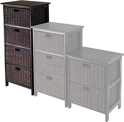 Winsome Omaha Composite Wood Storage Rack With 4 Foldable Corn Husk Baskets, Black