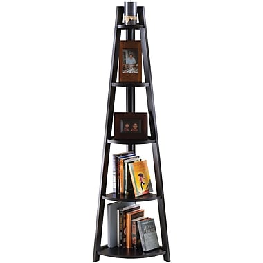 Winsome Solid/Composite Wood 5-Tier A-Frame Corner Shelf, Black