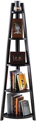 Winsome Solid/Composite Wood 5-Tier A-Frame Corner Shelf, Black