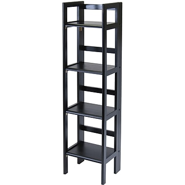 Winsome Solid/Composite Wood 4-Tier Folding Shelf, Black