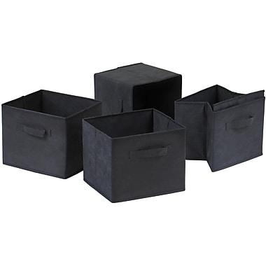 Winsome Capri Foldable Fabric Basket, Black, 4/Pack