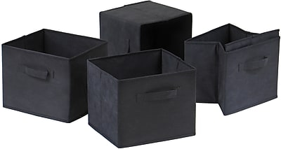 Winsome Capri Foldable Fabric Basket, Black, 4/Pack