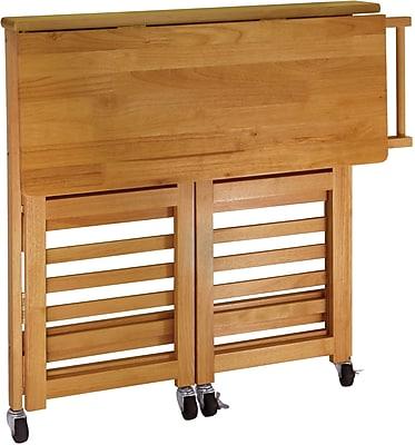 Winsome Wood Foldable Kitchen Cart With Shelves, Light Oak