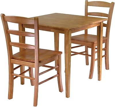 """""Winsome Groveland 29.13"""""""" x 29.53"""""""" x 29.53"""""""" Wood Square Dining Table With 2 Chair, Light Oak"""""" 55534"