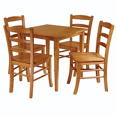 """""Winsome Groveland 29.13"""""""" x 29.53"""""""" x 29.53"""""""" Wood Square Dining Table With 4 Chair, Light Oak"""""" 55537"