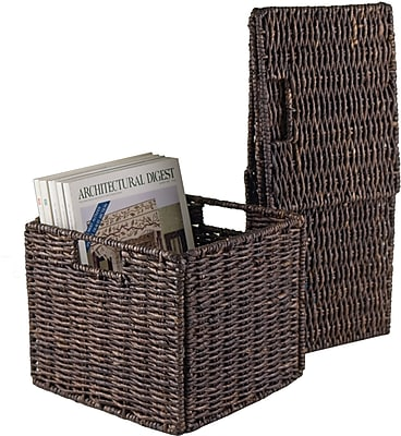 Winsome Granville Corn Husk Small Foldable Basket, Chocolate, 2/Pack
