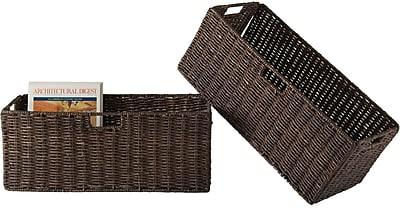 Winsome Granville Corn Husk Large Foldable Basket, Chocolate, 2/Pack