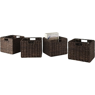 Winsome Granville Corn Husk Small Foldable Basket, Chocolate, 4/Pack
