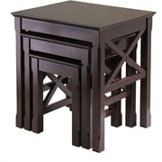 "Winsome Xola 22.13"" x 21.1"" x 17.32"" Composite Wood Nesting Table, Cappuccino, 3 Pieces"