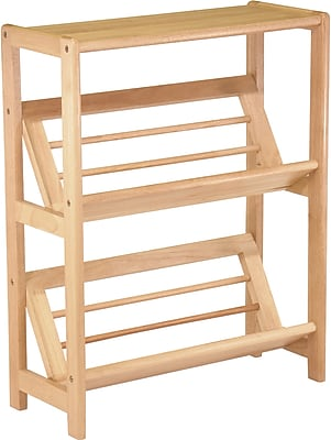 Winsome Mission Beech Wood 4-Tier Bookshelf With Slanted Shelf, Natural