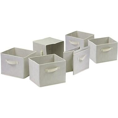 Winsome Fabric Capri Foldable Basket, Beige, 6/Pack