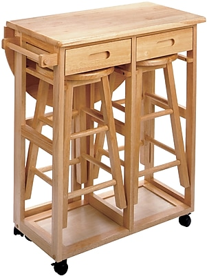 """""Winsome 32.79"""""""" x 29.7"""""""" x 29.29"""""""" Wood Basics Round Space Saver Drop Leaf Table With 2 Stool, Beech"""""" 55607"