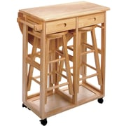 "Winsome 32.79"" x 29.7"" x 29.29"" Wood Basics Round Space Saver Drop Leaf Table With 2 Stool, Beech"