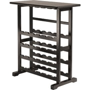 "Winsome Vinny 35.67"" x 31.50"" x 16.22"" Wood 24-Bottle Wine Rack With Glass Hanger, Dark Espresso"