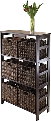 Winsome Granville Wood 7-Pc Storage Shelf With 6 Foldable Corn Husk Baskets, Espresso