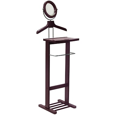 Winsome Wood Valet Stand With Mirror, Open Base, Dark Espresso