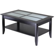 "Winsome Syrah 18"" x 40"" x 22.6"" Composite Wood Coffee Table With Frosted Glass, Dark Espresso"