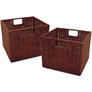 Winsome Leo Rattan Small Wired Basket, Antique Walnut, 2/Set