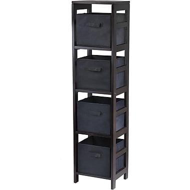 Winsome Capri Wood 4-Section N Storage Shelf With 4 Foldable Fabric Baskets, Espresso/Black