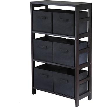 Winsome Capri Wood 3-Section M Storage Shelf With 6 Foldable Fabric Baskets, Espresso/Black