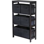 Winsome Capri Wood 3-Section M Storage Shelf With 6 Foldable Fabric Baskets, Espresso/Black