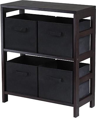 Winsome Capri Wood 2-Section M Storage Shelf With 4 Foldable Fabric Baskets, Espresso/Black