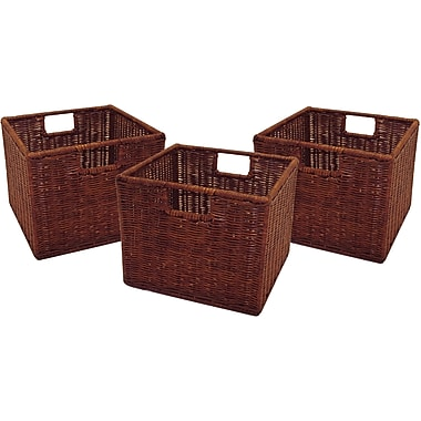 Winsome Leo Rattan Wired Small Basket, Antique Walnut, 3/Pack