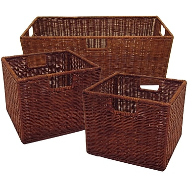 Winsome Leo Rattan Wired Basket, Antique Walnut, 3/Set