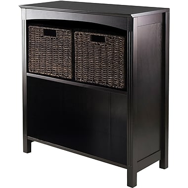 Winsome Wood 3-Pc Storage 3-Tier Shelf With 2 Small Corn Husk Baskets, Dark Espresso