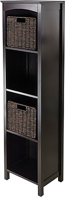 Winsome Solid Wood 3-Pc Storage 5-Tier Shelf With 2 Small Corn Husk Baskets, Dark Espresso