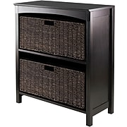 Winsome Solid Wood 3-Pc Storage 3-Tier Shelf With 2 Large Corn Husk Baskets, Dark Espresso