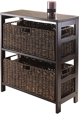 Winsome Granville Wood 3-Pc Stroage Shelf With 2 Large Corn Husk Baskets, Espresso