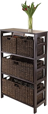 Winsome Granville MDF 5-Pc Storage Shelf With 2 Small and 2 Large Corn Husk Baskets, Espresso