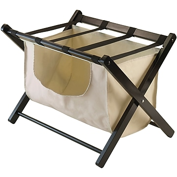 Winsome Dora Wood Foldadle Luggage Rack With Removable Fabric Basket, Espresso