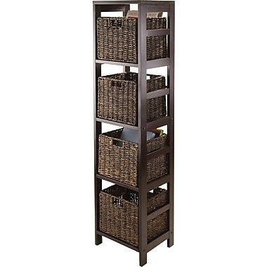 Winsome Granville MDF Storage Tower Shelf With 4 Foldable Corn Husk Baskets, Espresso