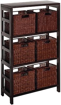 Winsome Leo Wood 7-Pc Storage Shelf With 6 Rattan Baskets, Espresso