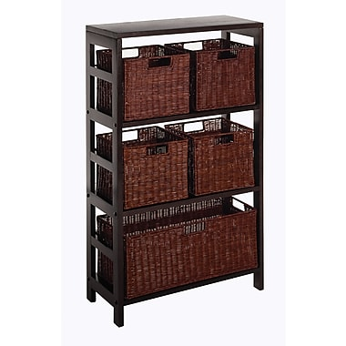 Winsome Leo 6-Pc Wood Storage Shelf With 4 Small and 1 Large Rattan Baskets, Espresso