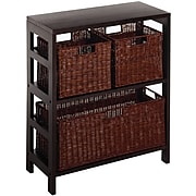 Winsome Leo Wood 4-Pc Shelf With 1 Large and 2 Small Rattan Baskets, Espresso (92649)