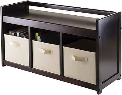Winsome Addison Solid/Composite Wood 4-Pc Storage Bench With 3 Foldable Fabric Baskets, Beige