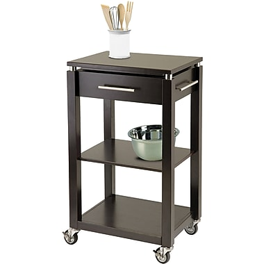 Winsome Linea Wood Kitchen Cart With Chrome Accent, 1-Drawer, Dark Espresso
